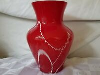 Rich Red White Drizzle Art Glass Classic Vase Cased Clear White Interior 9½""