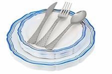Disposable Plastic Plates Set|White Disposable Plates with Rim 32 Piece Set