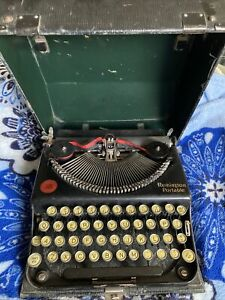 1920's Remington Portable Typewriter In Hard Cover Case WORKS