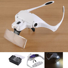 1X 1.5X 2X 2.5X 3.5X Magnifying Glass Head Magnifier Lamp Illuminated Headband