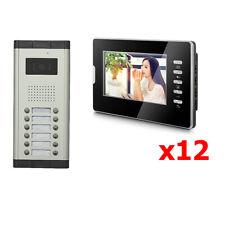 12 Units Apartment Video Door Phone Doorbell Audio Visual Intercom Entry System