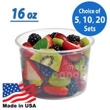 16oz Round Clear Plastic Deli Food/Soup Restaurant Storage Container Cup w/ Lids