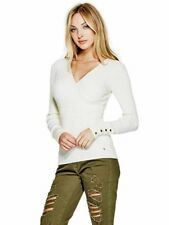 GUESS Sweater Women's Slim Fit Rib Knit Wrap Front Sweater Buttons XS Ivory NWT