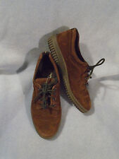 Women's ECCO Brown Nu Buck Suede Leather Oxfords Size 37 Euro or 6 1/2 M U.S.