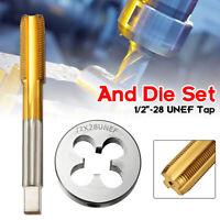 1/2''-28 HSS Right Hand Thread Cutting Tool UNEF Tap&Die Set Titanium Coated
