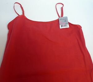 NEW Womens Cami Tank Top Shell Mopas Red One Size Nylon Spandex