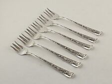 "Watson Windsor Rose Sterling Silver Cocktail Forks - 5 3/4"" - Set of 6 -No Monos"