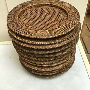 12 Woven Wicker Round Circular Charger Plates Holders approx 31 1/2 cms
