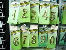 "House Numbers   Brass- Plated  Aluminum   3"" with Mounting Screws Included"