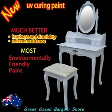 Luxury white dressing table with mirror draws and padded stool MD500