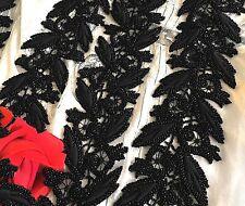 Mercerie ancien Galon brodé Perles de jais 302 cm x 7,5 cm (Vers 1880 ) GLN/100