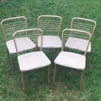 5 Vintage Mid Century Modern Metal Folding Chair Steel Cosco 1950s Vinyl Tweed