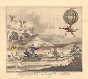 "1880's Handcolored French Engraving ""Moyen infaillible de diriger les Ballons"""
