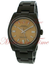 Rolex Oyster Perpetual 36mm White Grape Dial Domed Bezel Black DLC 116000