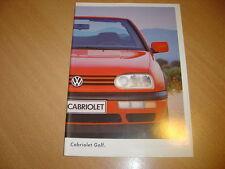 CATALOGUE VW Golf Cabriolet d'août 1994