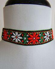 Trachten Necklace Kropfband Choker Edelweiss Embroidered Oktoberfest Dirndl NIB