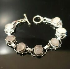 Rose Quartz Gemstone Bracelet - £265 - Solid Sterling Silver - (BRAND NEW)