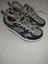 Sketchers Women Shape Ups Toning Walking Shoe Black/Gray/White/Pink sz 7