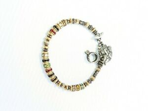 Gold Tone Colorful Crystal Silver Tone Angel Toggle Bracelet 8 Inches
