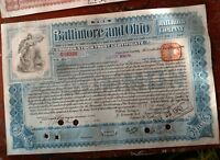 1899-1901 Baltimore and Ohio Railroad Co. Stock Certificate blue Int. Bank Note