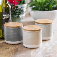 Set of 3 Modern 650ml Ceramic Tea Coffee Sugar Food Storage Canisters Jars Pots