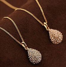 Fashion Jewelry Crystal Ball Pendant Statement Chain Necklace Choker Gold Silver