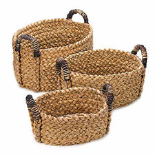 Rustic Woven Nesting Baskets Thick Deep Storage Organizers Set of 3