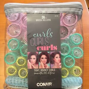 Conair 36 Piece Brush Rollers for Tight & Bouncy Curls - 4 Sizes - Brand New