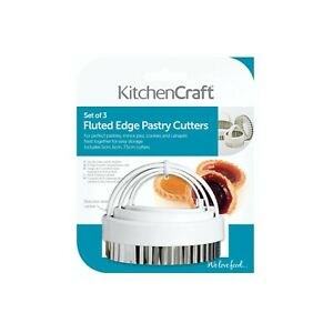 KITCHEN CRAFT SET OF 3 FLUTED PASTRY COOKIE CUTTERS 5cm 6cm 7.5cm s/steel