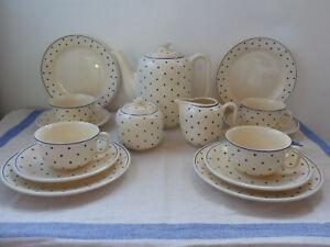 Kaffeeservice Weiß Blau Punkte kein Villeroy & Boch Dresden Jugendstil Art Deco