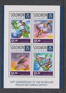 Solomon Islands - 2014, $7 x 4, Passenger Pigeon Bird set - Block of 4 - MNH