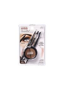 Kiss Beautiful Brow Kit - All-in-One Kit for Perfectly Styled Brows Medium Brown