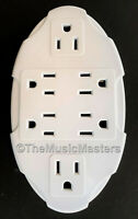 6 Outlet Electrical Socket Adapter Cover Oval 6-Way AC Wall Plug Power Splitter