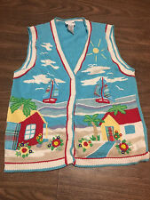 Korea Francisca Medium Grandma Style Beach Town Women's Sweater Vest Hip