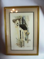 Cynthia Hiatt Poole Signed Limited Edition Offset Lithograph New Orleans Balcony