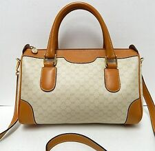 Gucci Vintage Beige Tan GG Monogram Canvas Leather Satchel Crossbody Bag Italy