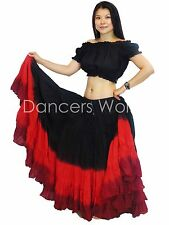 3 Colour 25 yard belly dance dancing cotton Skirt & Top 2pc Tribal Gypsy Set