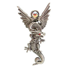 JJ VINTAGE RED EYED DRAGON WITH WINGS PEWTER BROOCH PIN