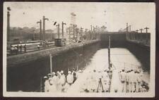 1920s RP POSTCARD US NAVY BATTLESHIP USS NORTH DAKOTA BB29 ENTERING CANAL LOCK