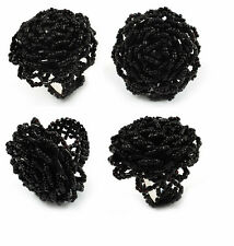 A Black Large Seed Beaded Statement  Flower Rose Stretch Finger Ring, Gothic