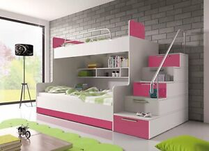 BRAND NEW Bunk Bed PARADISE 2 Cabin Kids Sleeper with Mattresses 6 Colours