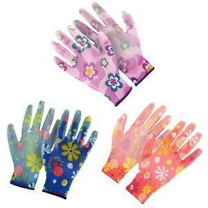 3x Pairs of Ladies Garden Gloves,Purple, Red, Blue Floral DIY Work Safety Gloves