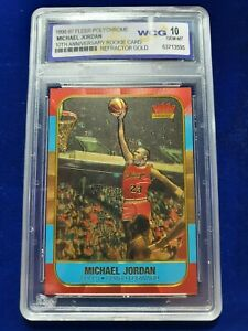 1996-97 Fleer Polychrome Michael Jordan Brushed Gold Refractor WCG 10 GEM MINT
