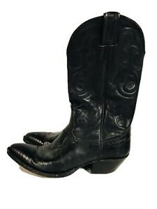 Womens Vintage Nocona Black Lizard Western Boots Size 7