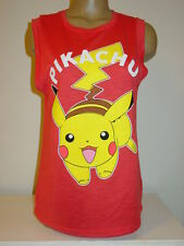 Pokemon Pikachu pink coral knit sleeveless tee cami tank-XL