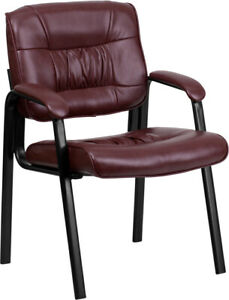 Burgundy Leather Soft Executive Side Reception Chair with Black Metal Frame