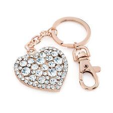 Rose Gold Coloured Crystal Heart Design Keyring / Bag Charm