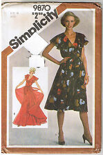 Vtg 80s Mock Wrap Surplice Bodice Dress Dance Simplicity Sewing Pattern Sz 16