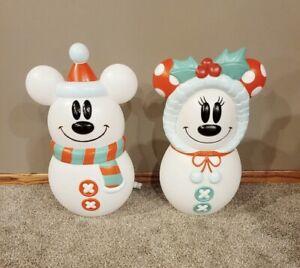 """NEW! Mickey & Minnie Snowman Christmas Blow Mold Disney 23"""" Tall"""