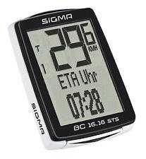Sigma BC 16.16 STS kabelloser Fahrradcomputer/Tacho 16 Funktionen, Weiß - 01617